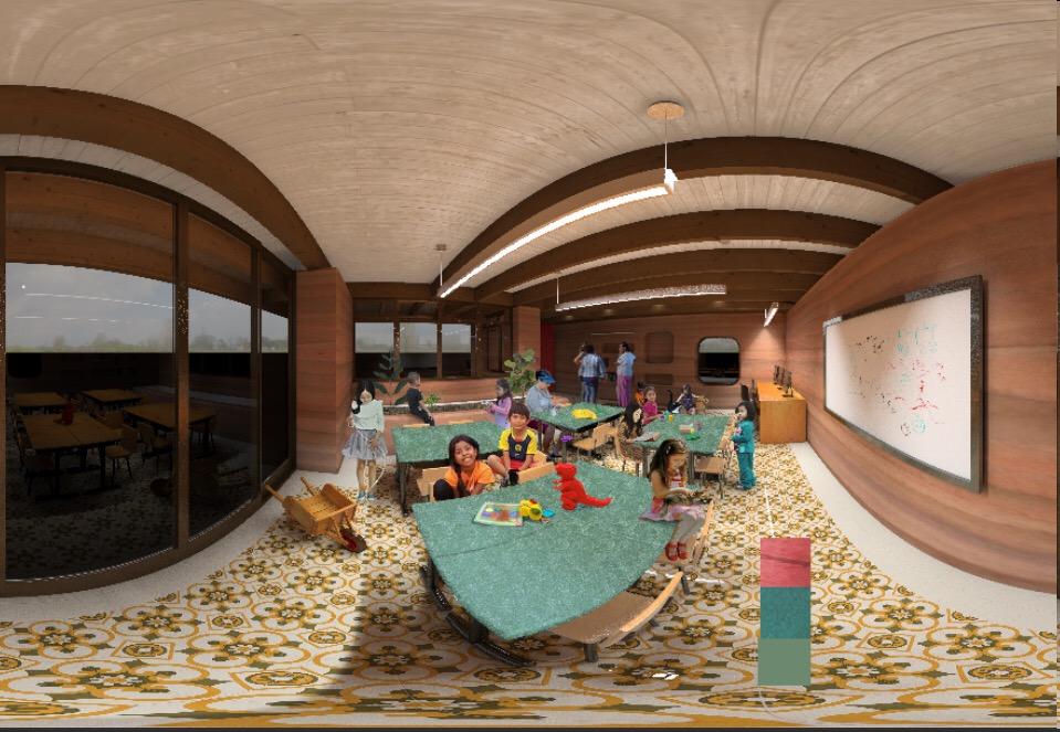 Huerta del Valle Library interior rendering - work in progress