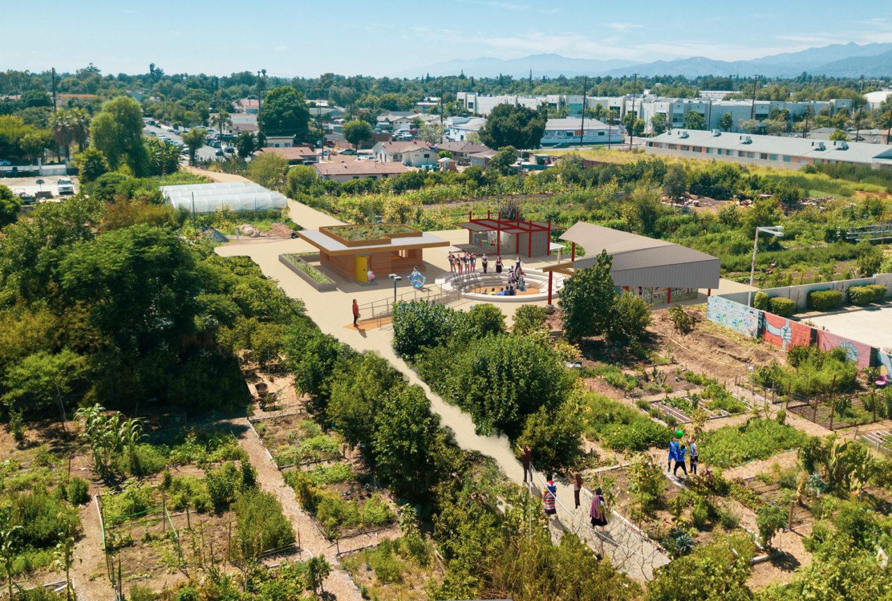 HdV Huerta del Valle Educational Center Aerial Render East